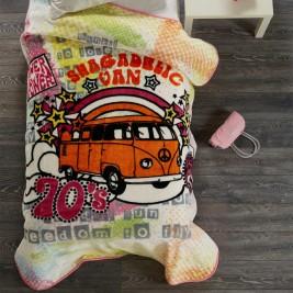 Κουβέρτα Βελουτέ Μονή White Egg ΚΠ2 Λεωφορείο