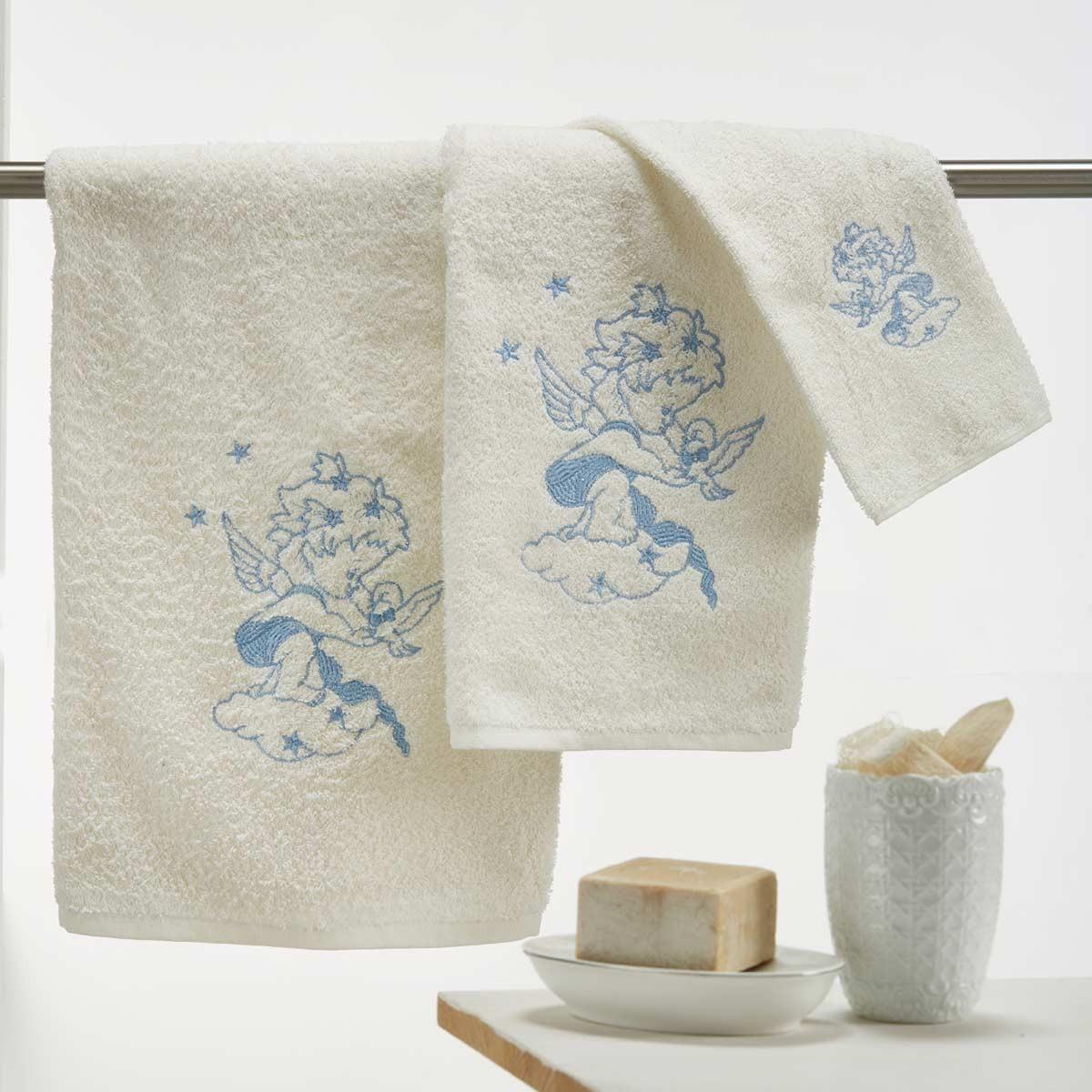 Παιδικές Πετσέτες (Σετ) White Egg Αγγελάκι Μπλε