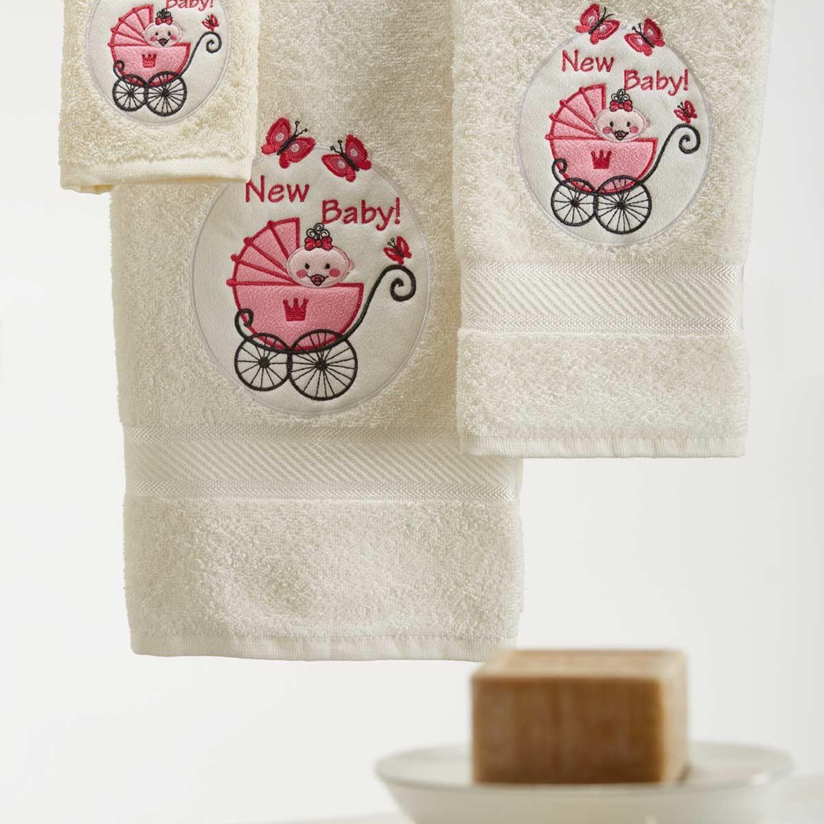 Παιδικές Πετσέτες (Σετ) White Egg Καροτσάκι Ροζ