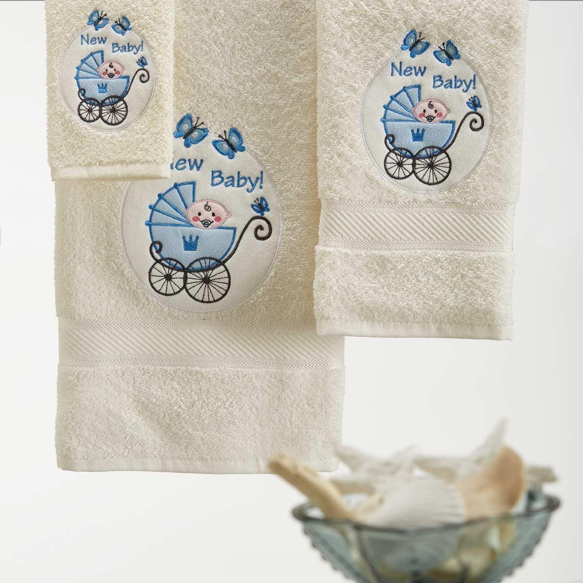 Παιδικές Πετσέτες (Σετ) White Egg Καροτσάκι Μπλε