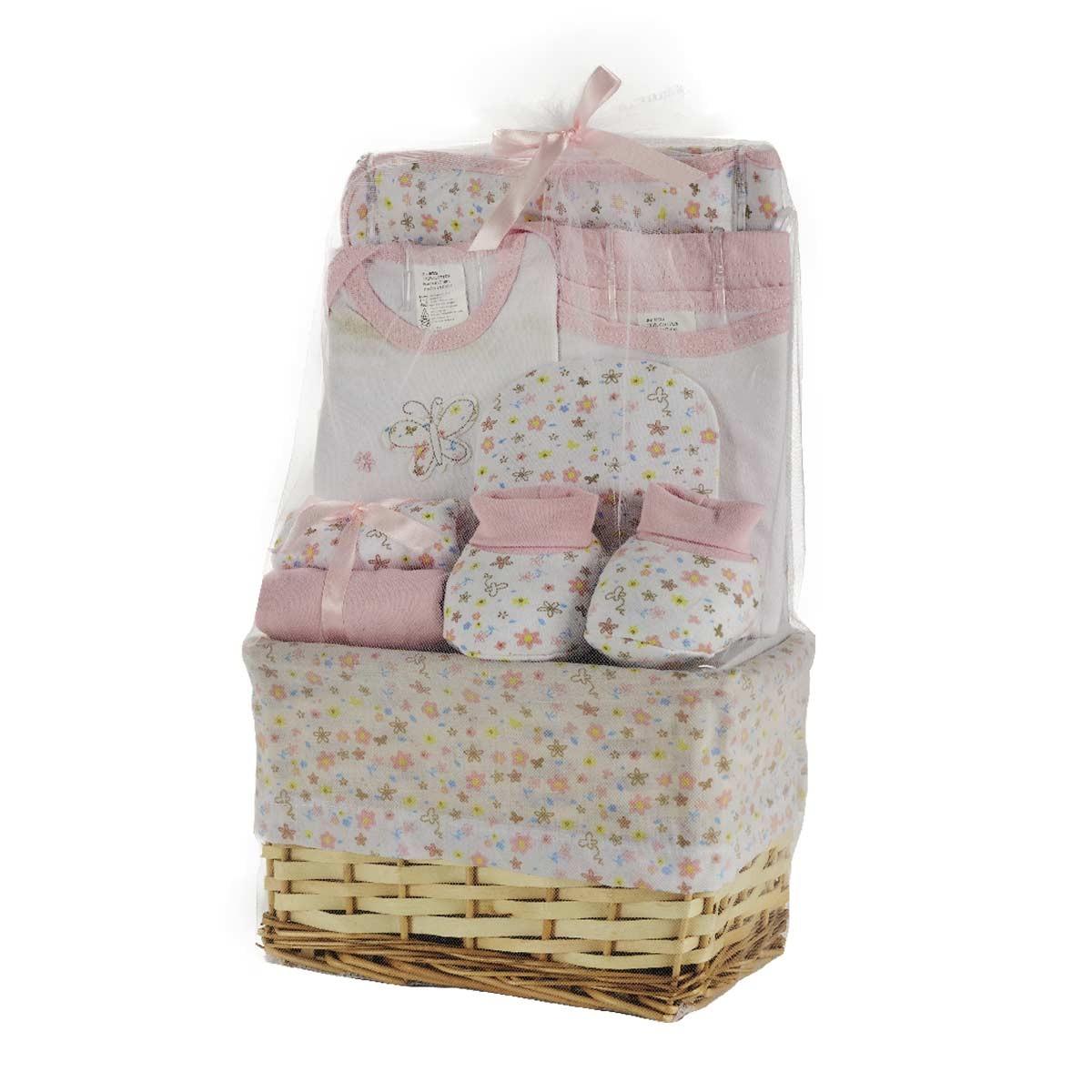 Βρεφικά Ρουχαλάκια (Σετ 10τμχ) White Egg Καλάθι Ροζ