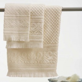 Πετσέτες Μπάνιου (Σετ 3τμχ) White Egg Κέρκυρα Α Ecru
