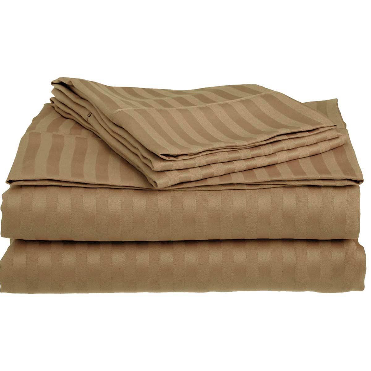 Σεντόνια Υπέρδιπλα (Σετ) 400 By Bedwall Satin Stripe Camel