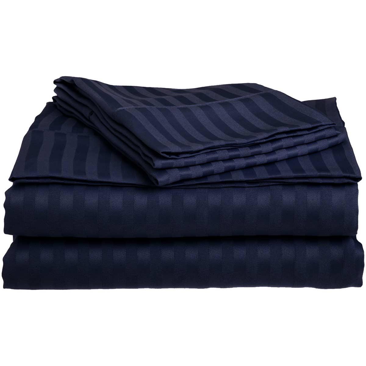 Σεντόνια Υπέρδιπλα (Σετ) 400+ By Bedwall Satin Stripe Blue
