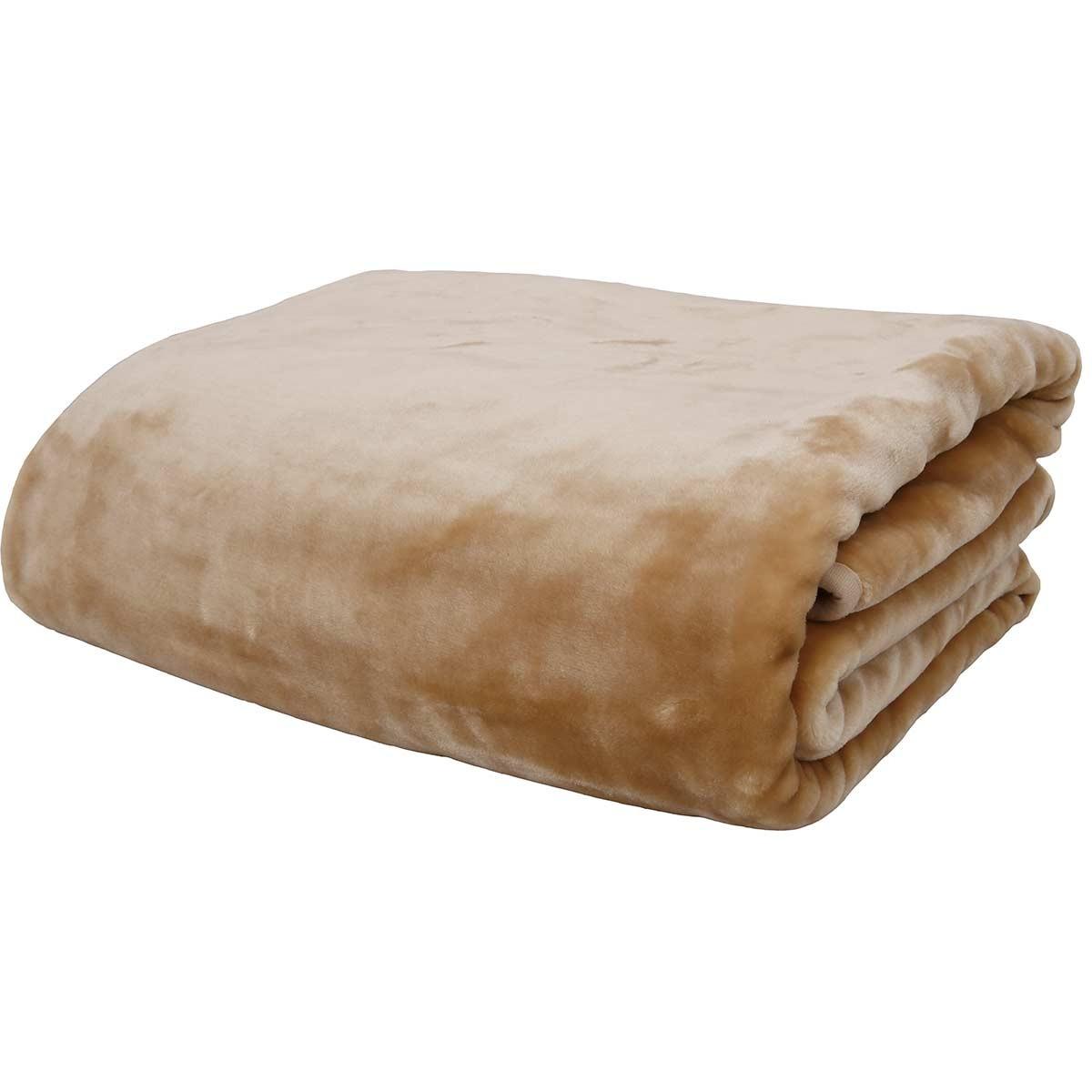 Κουβέρτα Βελουτέ Μονή Anna Riska Beige 63260