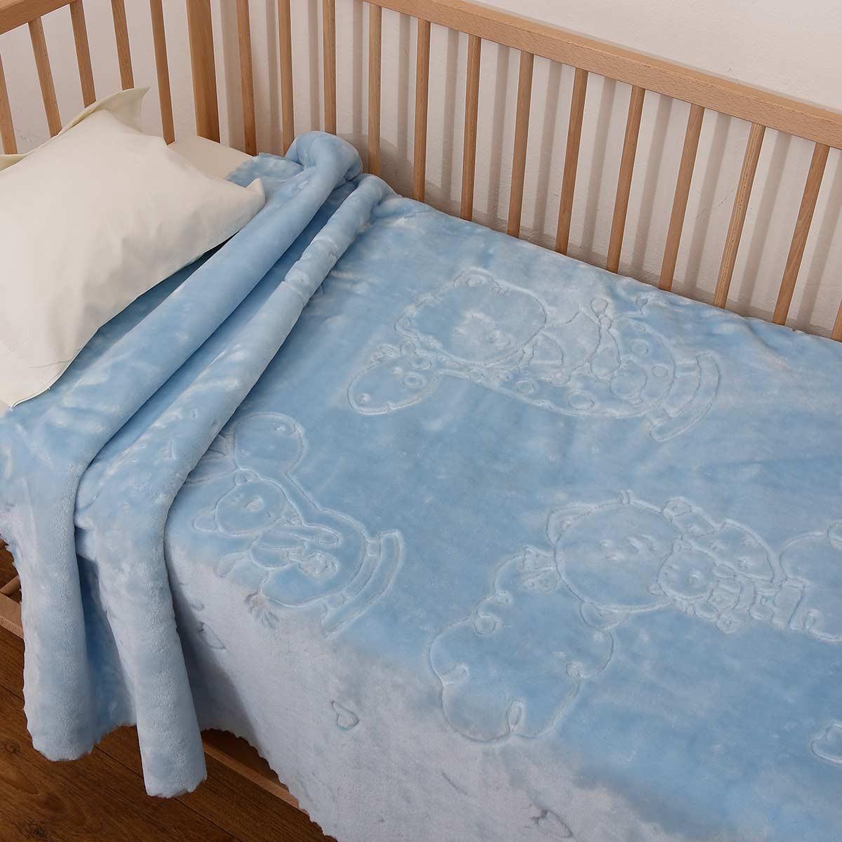 Υπνόσακος Κουβέρτα Βελουτέ Anna Riska Bear Sky Blue 63345