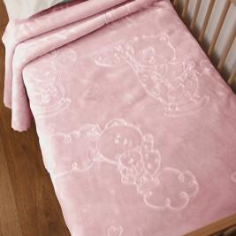Κουβέρτα Βελουτέ Αγκαλιάς Anna Riska Bear Blush Pink