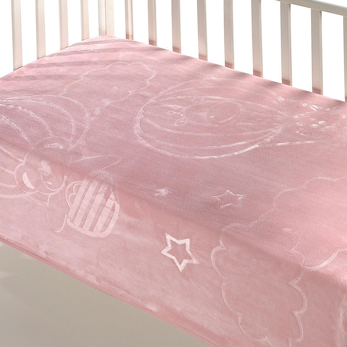 Κουβέρτα Βελουτέ Κούνιας Morven Dolce B12 Pink