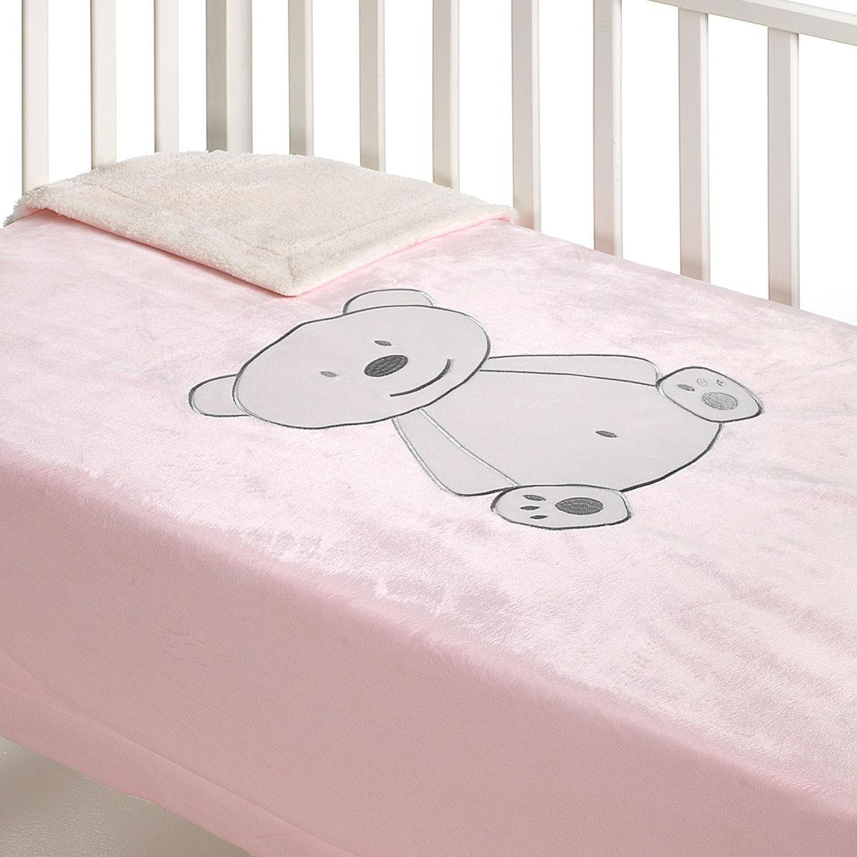 Κουβέρτα Βελουτέ Κούνιας Με Γουνάκι Morven Pasitos B47 Pink