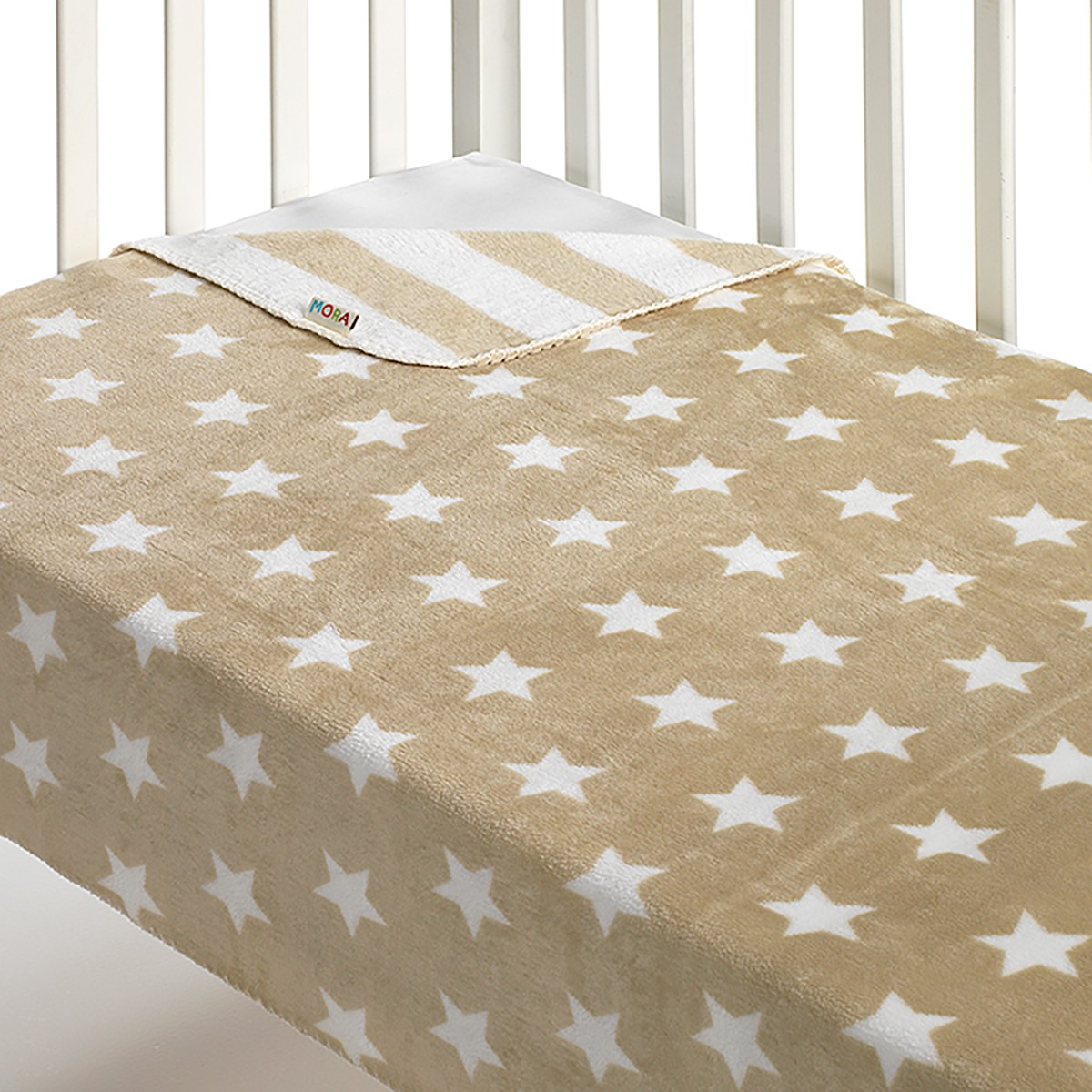 Κουβέρτα Fleece Αγκαλιάς Morven Stars Beige 64192