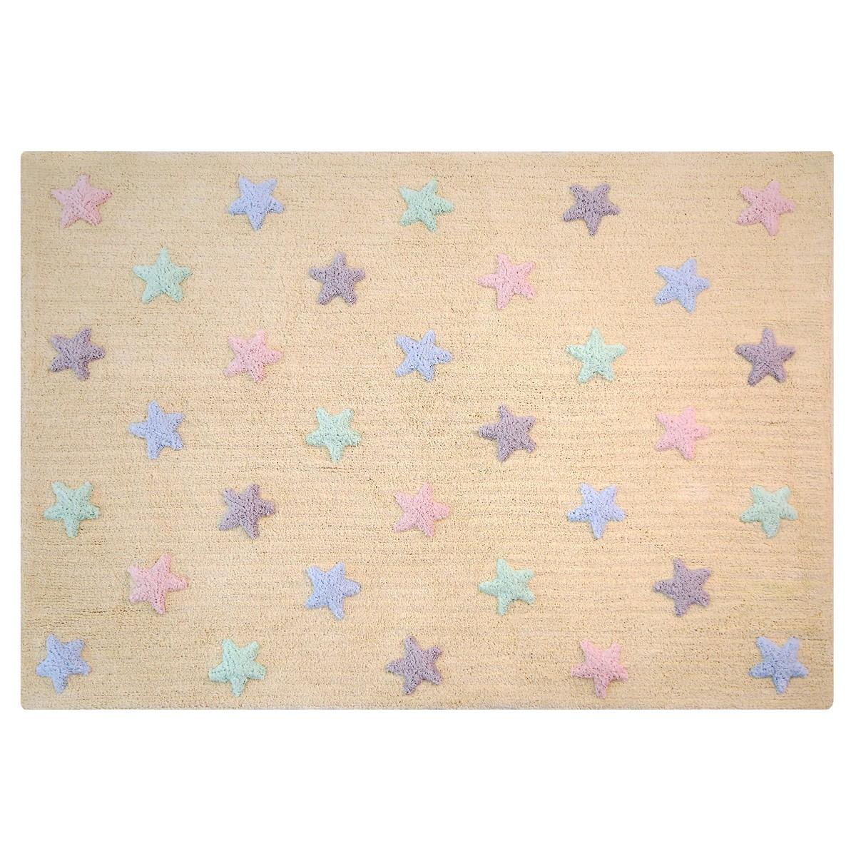 Πλενόμενο Χαλί (120×160) Lorena Canals Tricolor Stars Vanilla