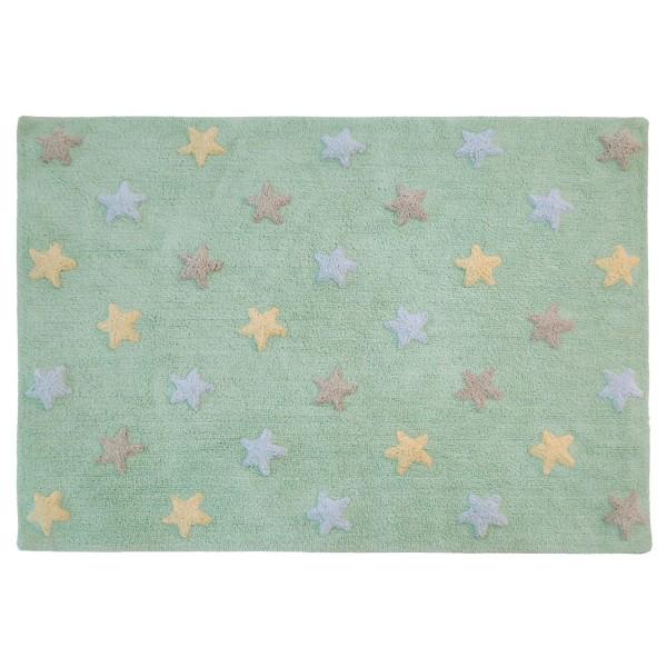 Πλενόμενο Χαλί (120x160) Lorena Canals Tricolor Stars Soft Mint