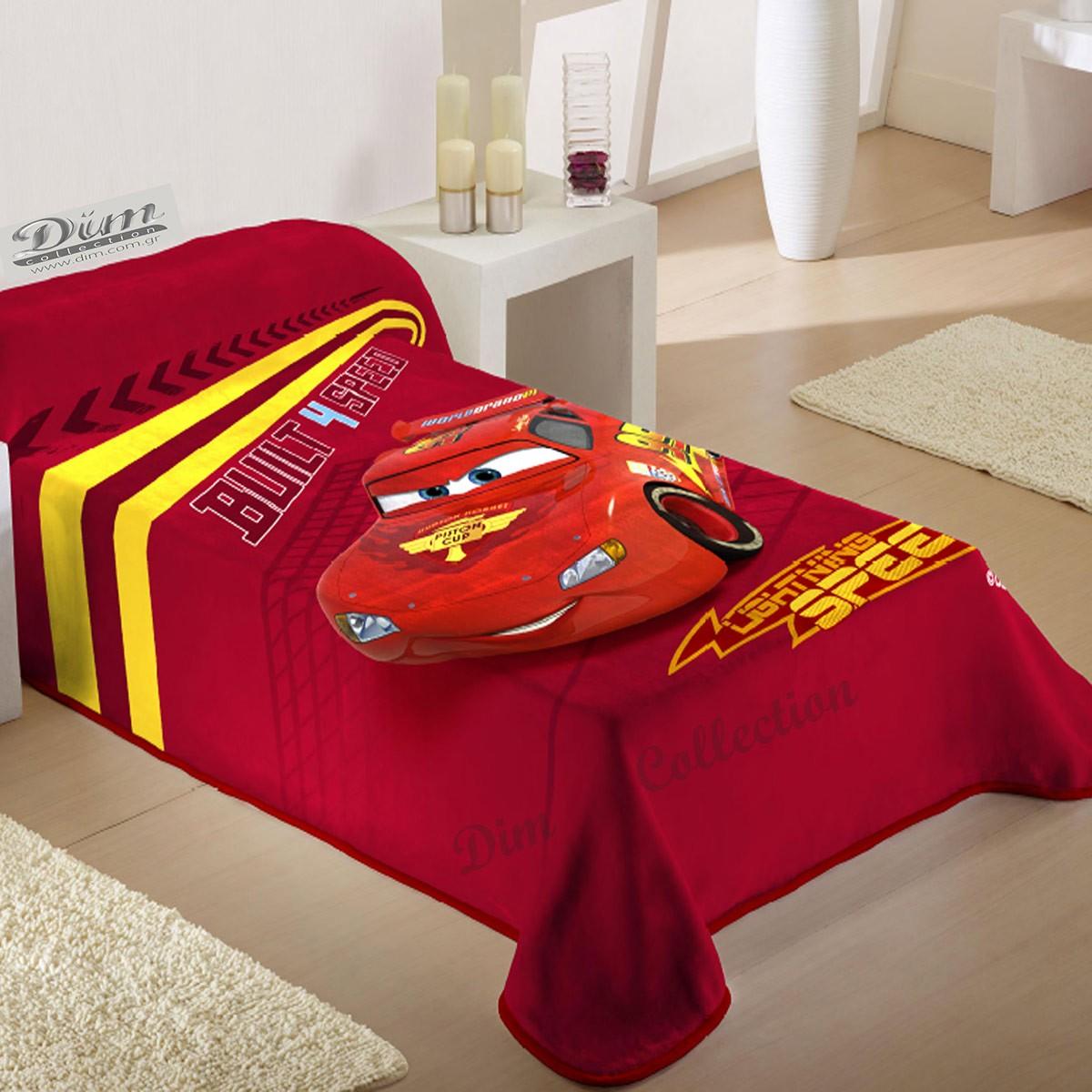 Κουβέρτα Βελουτέ Μονή Dim Collection Cars Lines Red