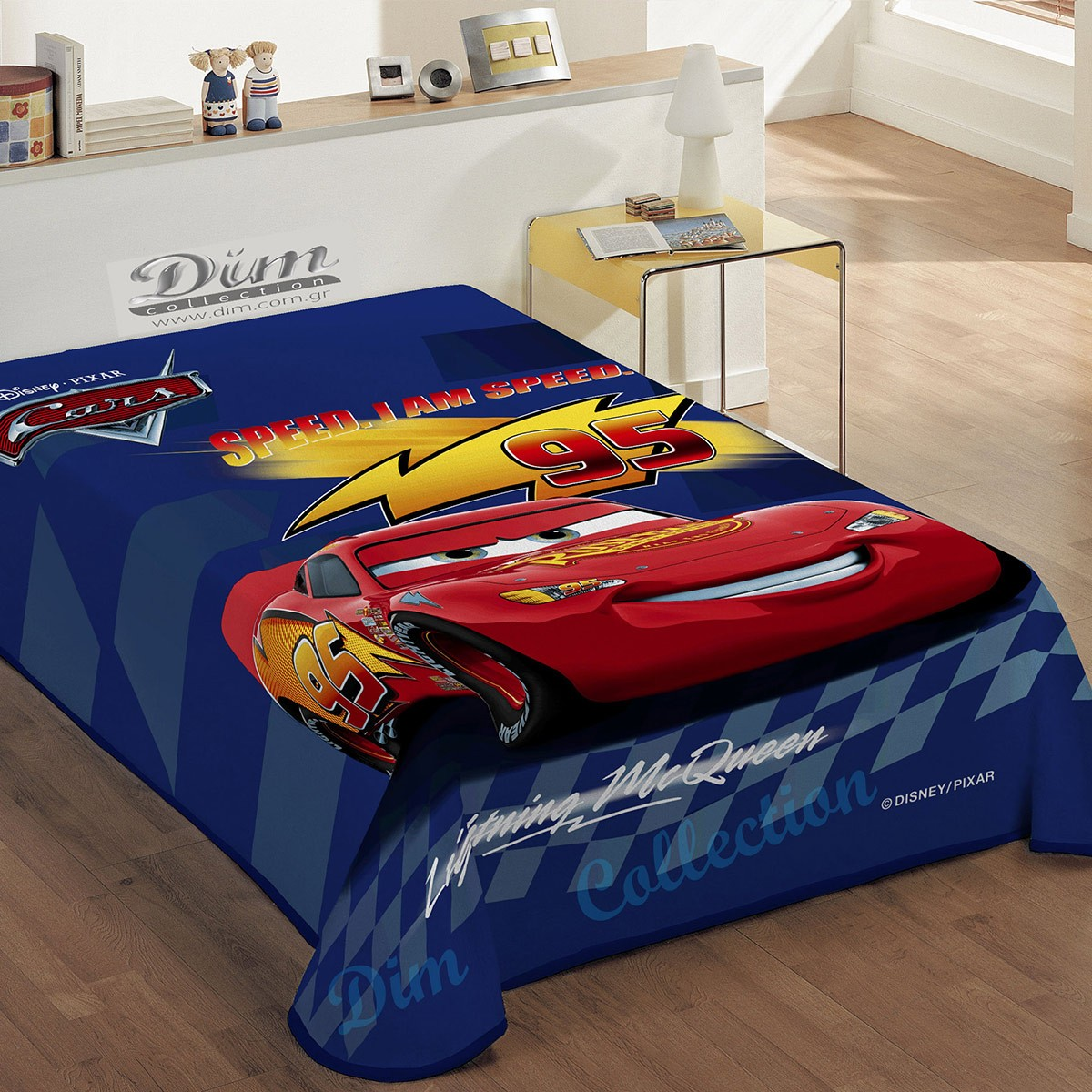 Κουβέρτα Βελουτέ Μονή Dim Collection Speed Cars Blue