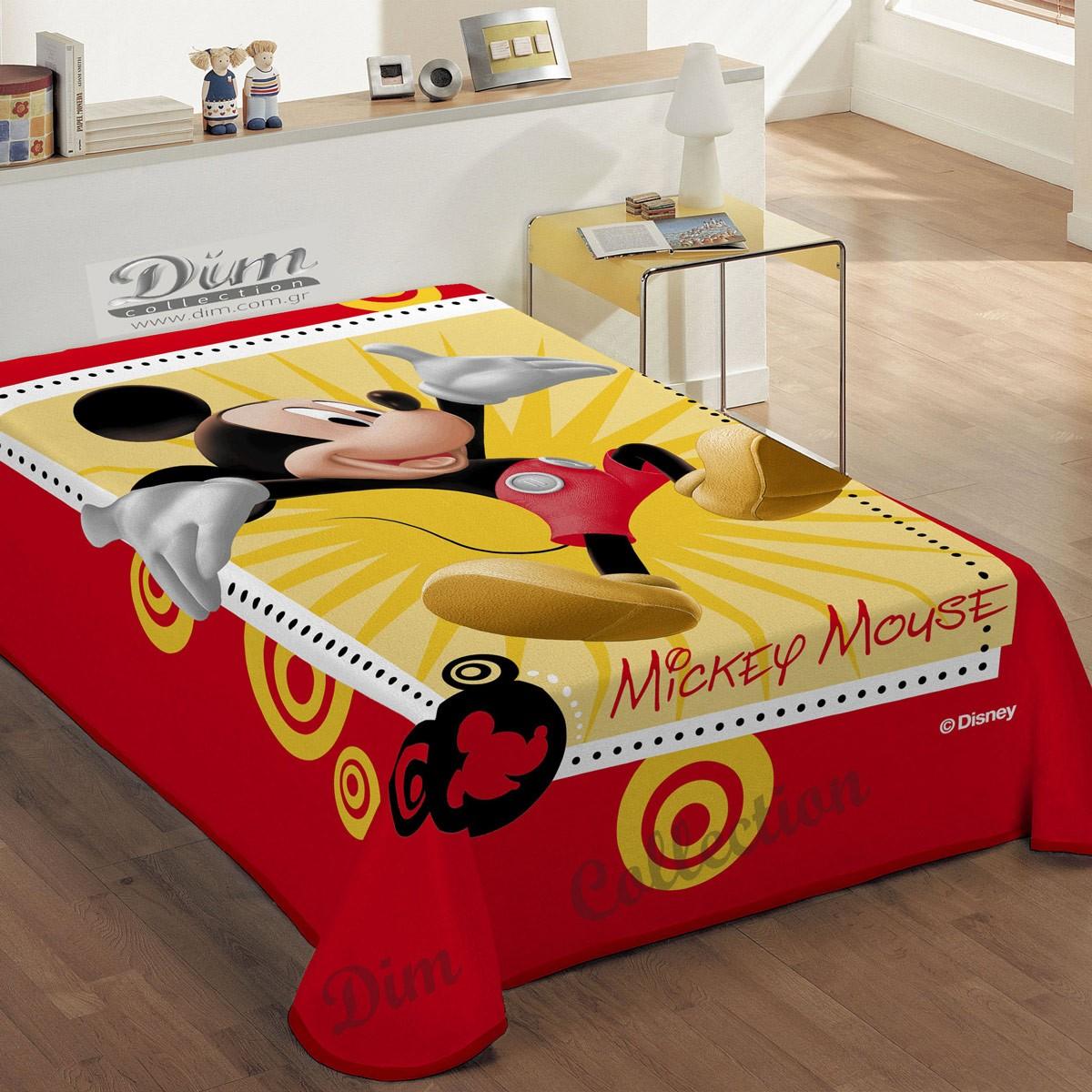 Κουβέρτα Βελουτέ Μονή Dim Collection Happy Mickey