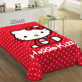 Κουβέρτα Βελουτέ Μονή Sanrio Hello Kitty Red