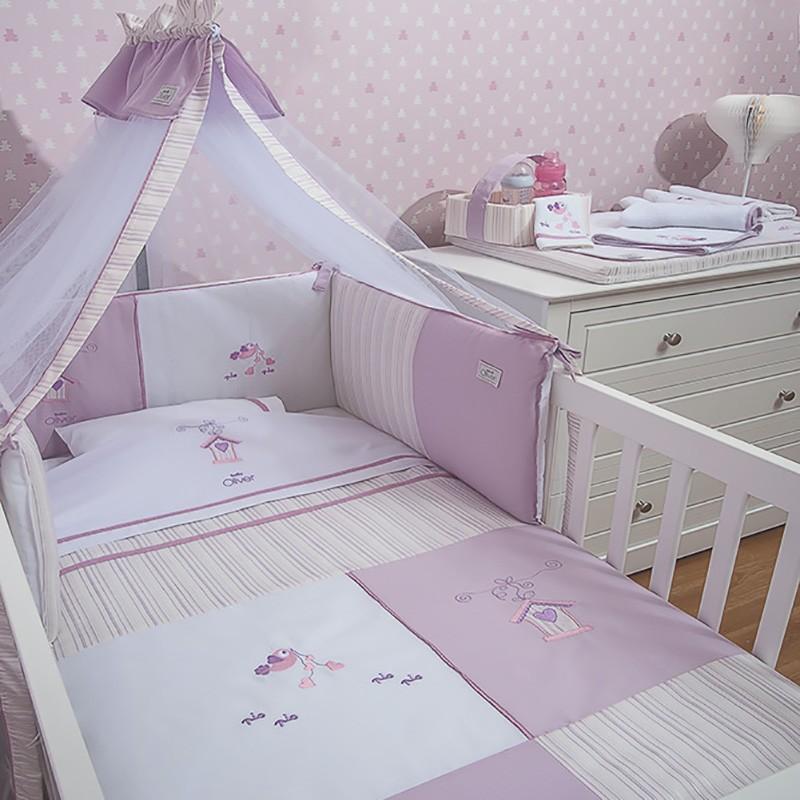 Σεντόνια Κούνιας (Σετ) Baby Oliver Lilac Dream Birds 300