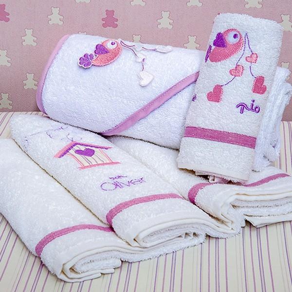 Βρεφικές Πετσέτες (Σετ 2τμχ) Baby Oliver Lilac Dream Birds 300
