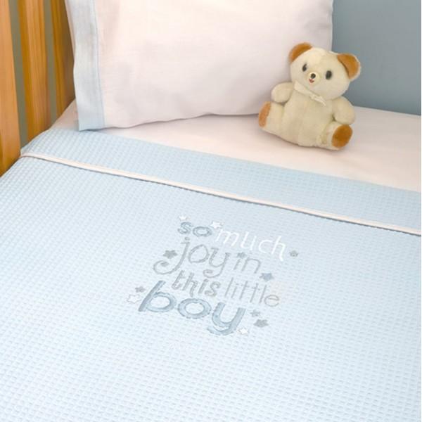 Κουβέρτα Πικέ Κούνιας Baby Oliver Little Blue Joy 303