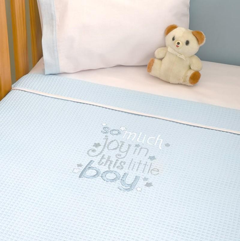 Κουβέρτα Πικέ Αγκαλιάς Baby Oliver Little Blue Joy 303