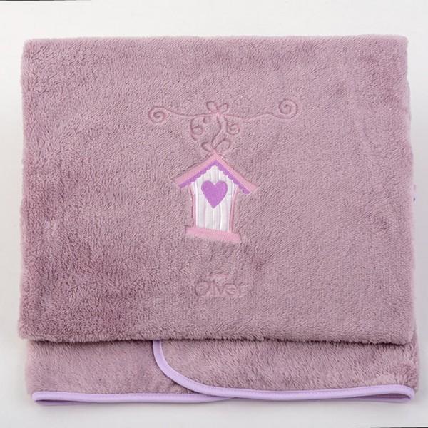 Κουβέρτα Fleece Κούνιας Baby Oliver Lilac Dream Birds 300