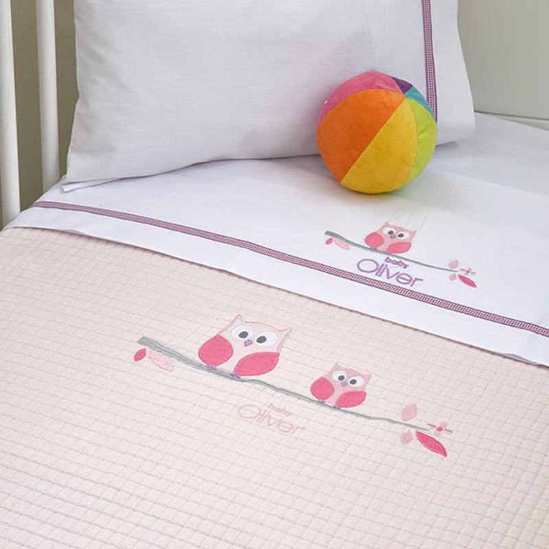 Κουβέρτα Πικέ Κούνιας Baby Oliver Pink Owl 630