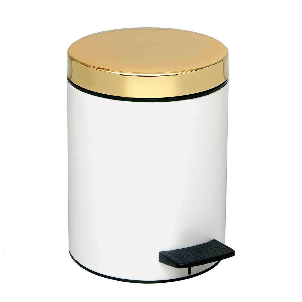 Κάδος Απορριμάτων (20x28) PamCo 5Lit 106 White/Gold