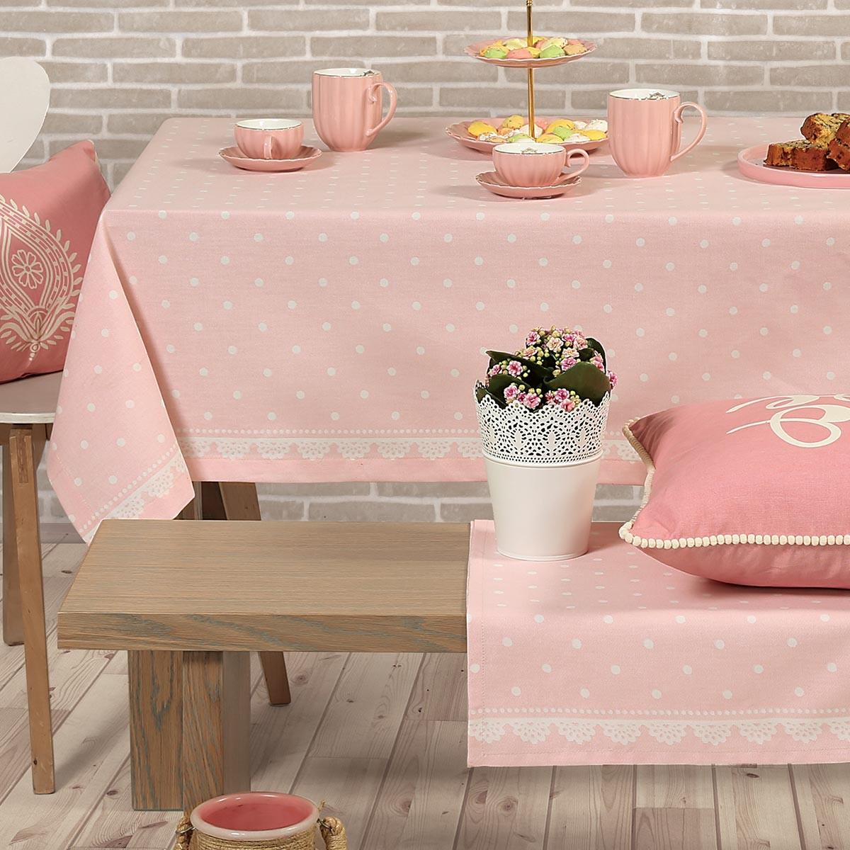 Τραπεζομάντηλο (140×140) Nef-Nef Romantic Pink