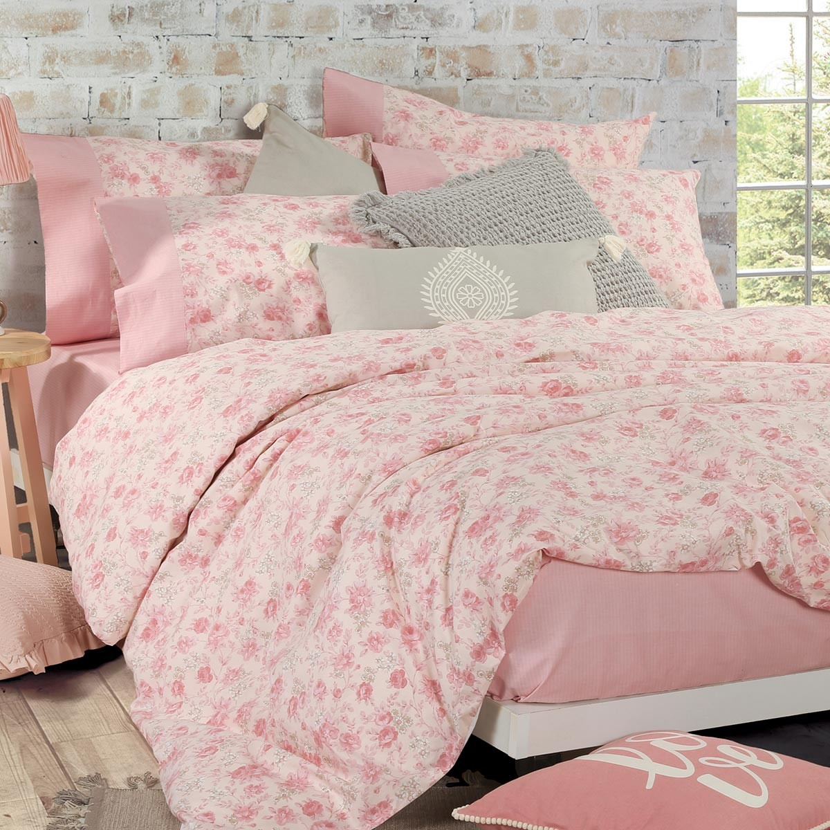 Σεντόνια Μονά (Σετ) Nef-Nef Smart Line Garlant Pink 67583