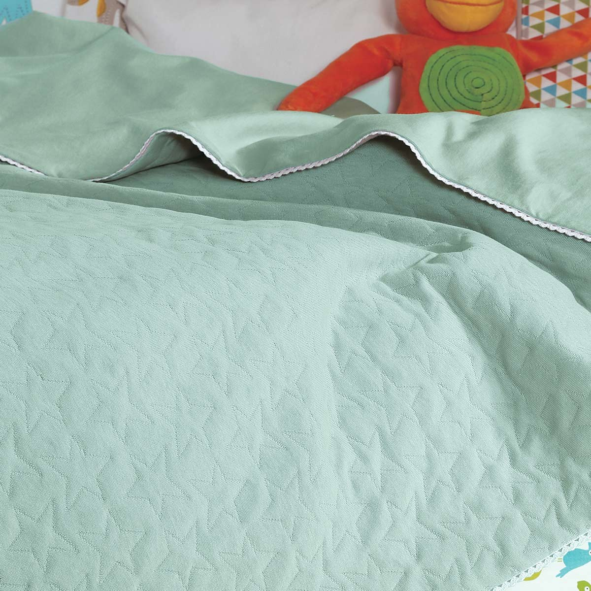 Κουβερτόριο Αγκαλιάς Nef-Nef Cute Stars Green home   βρεφικά   κουβέρτες βρεφικές   κουβέρτες καλοκαιρινές