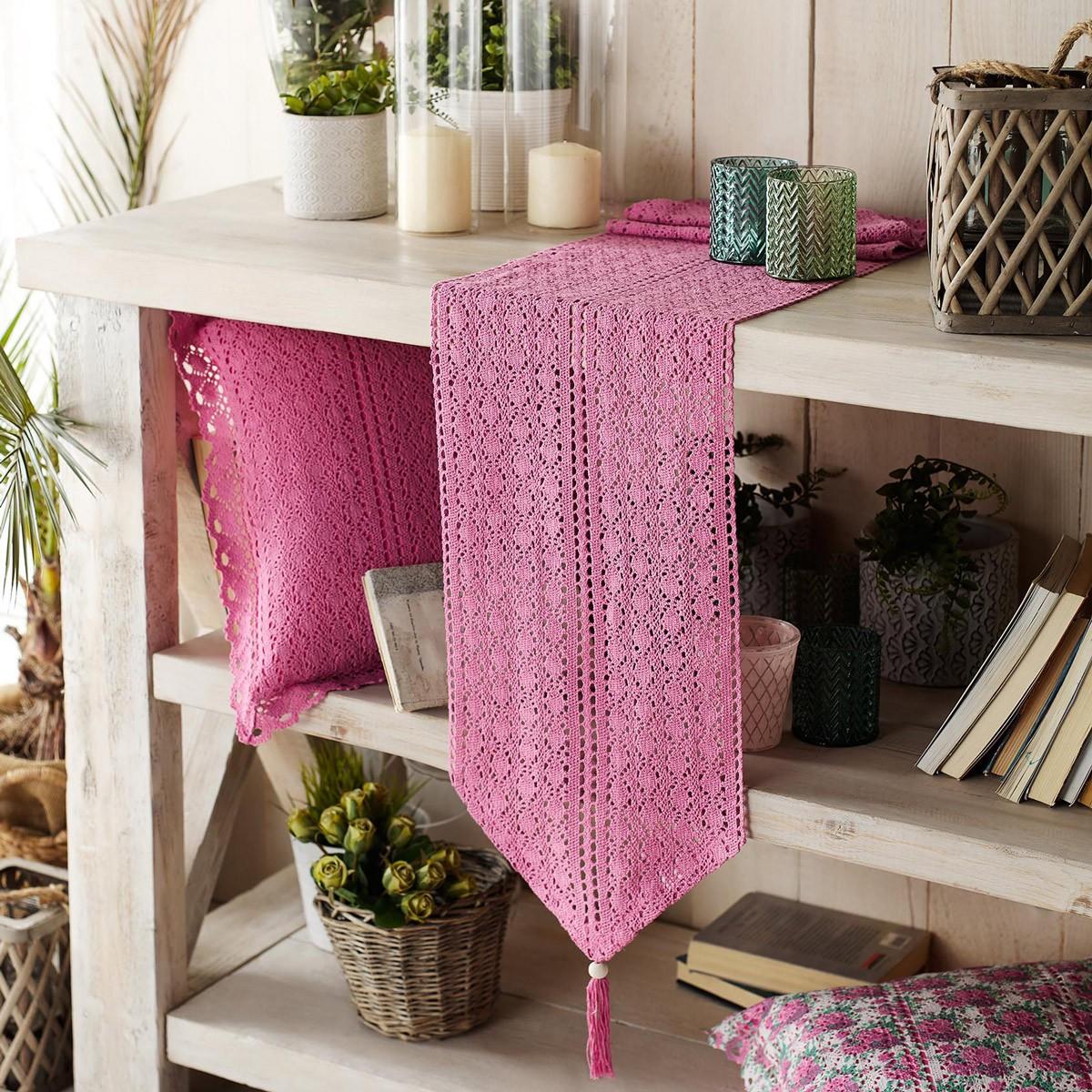 Τραβέρσα Gofis Home Crochet Pink 019/17
