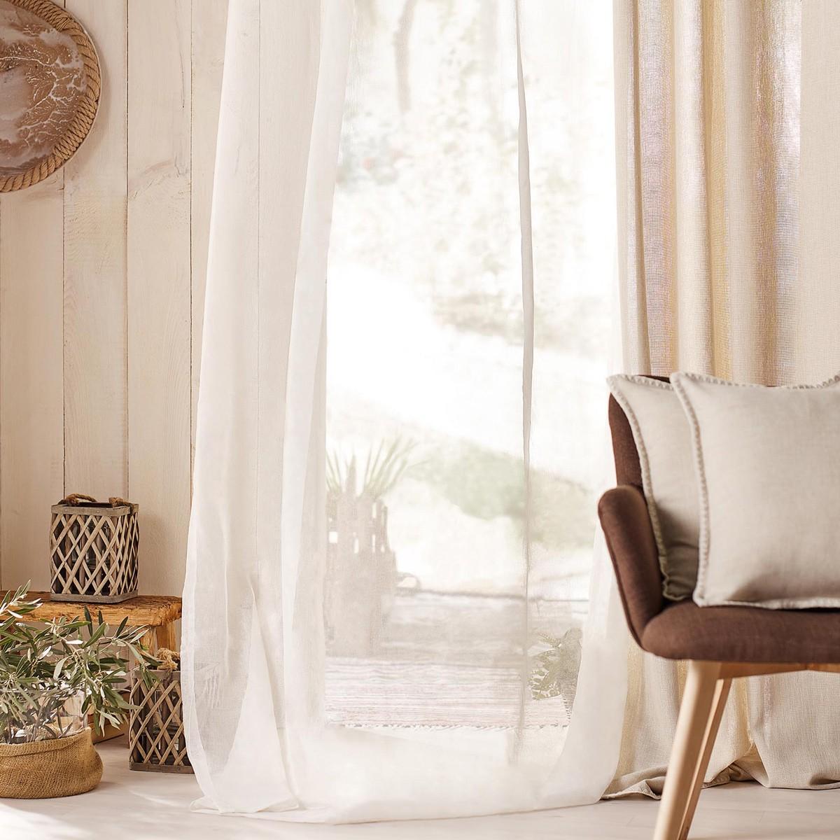 Κουρτίνα (140×280) Με Τρουκς Gofis Home Combe Off White 502/05