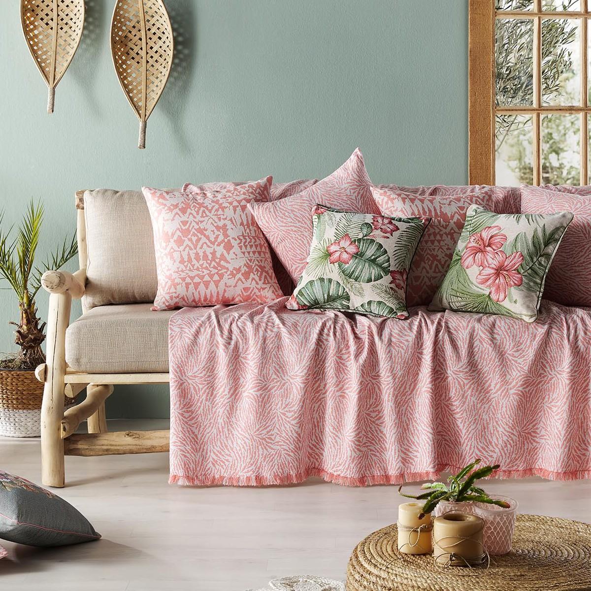 Ριχτάρι Πολυθρόνας (180×180) Gofis Home Tropical Pink 525/03