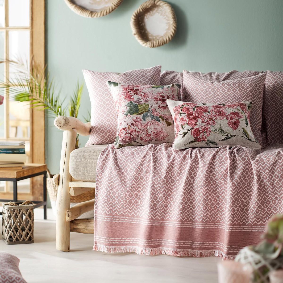 Ριχτάρι Πολυθρόνας (180x180) Gofis Home Amina Pink 733/03
