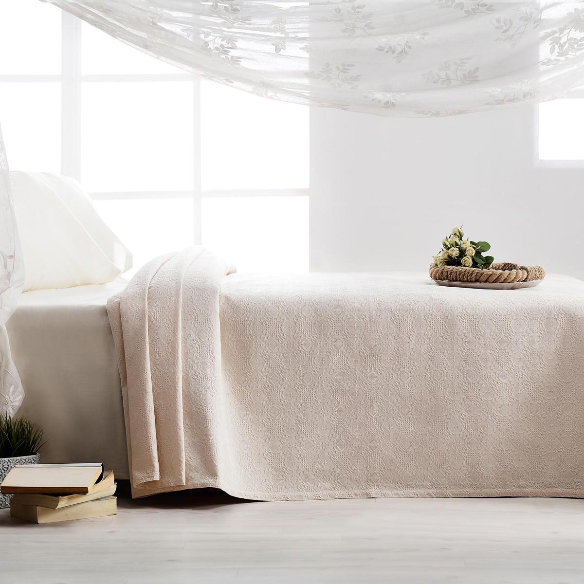 Κουβερτόριο Υπέρδιπλο Gofis Home Tenzin Ecru 284/05 home   κρεβατοκάμαρα   κουβέρτες   κουβέρτες καλοκαιρινές υπέρδιπλες