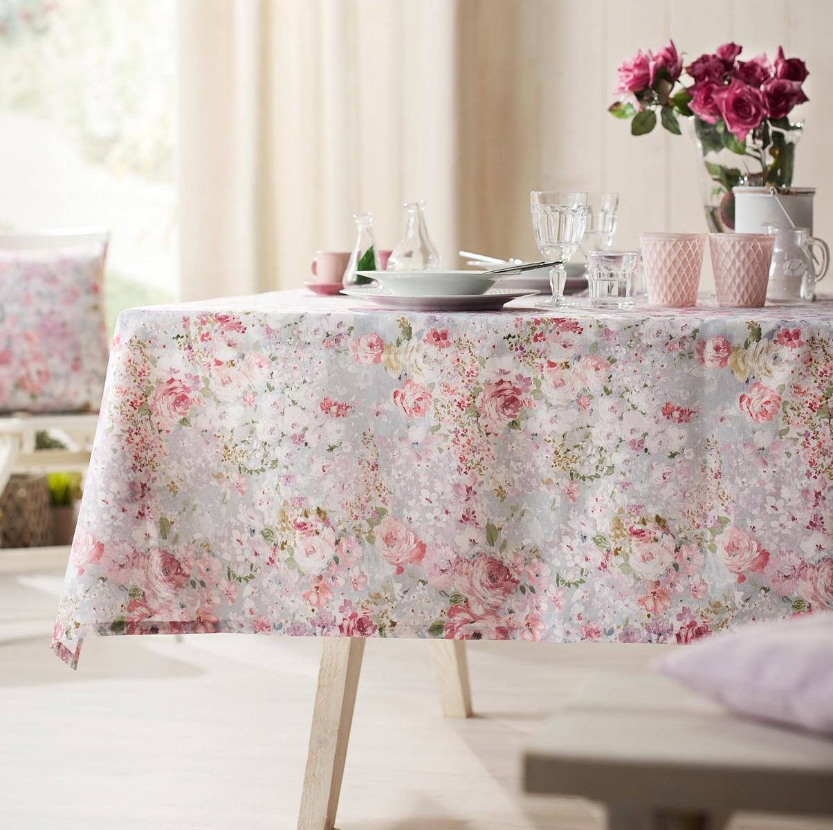 Τραπεζομάντηλο (135x135) Gofis Home Delphine Pink 221/17 home   κουζίνα   τραπεζαρία   τραπεζομάντηλα