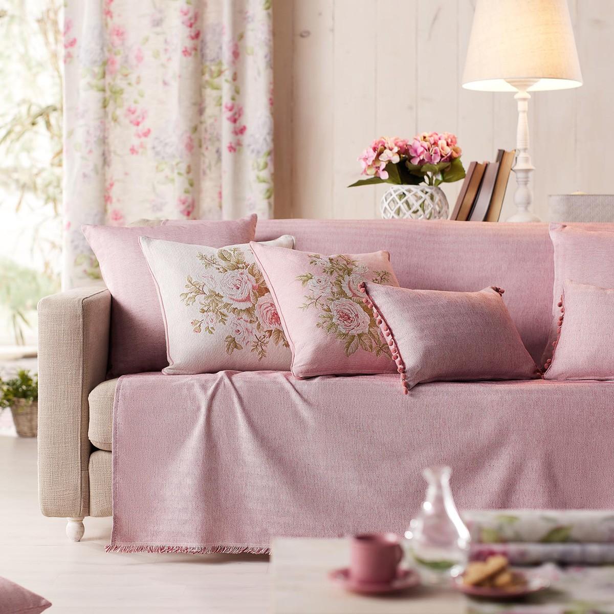Ριχτάρι Πολυθρόνας (180×180) Gofis Home Rene Pink 732/17