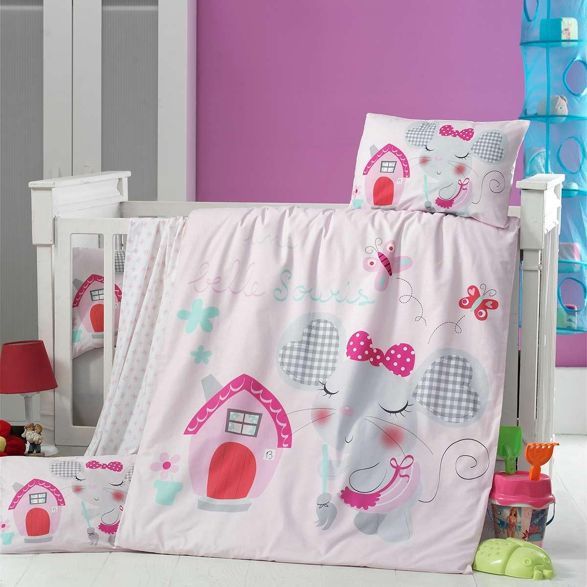 Σεντόνια Κούνιας (Σετ) Ravelia Baby Pink House