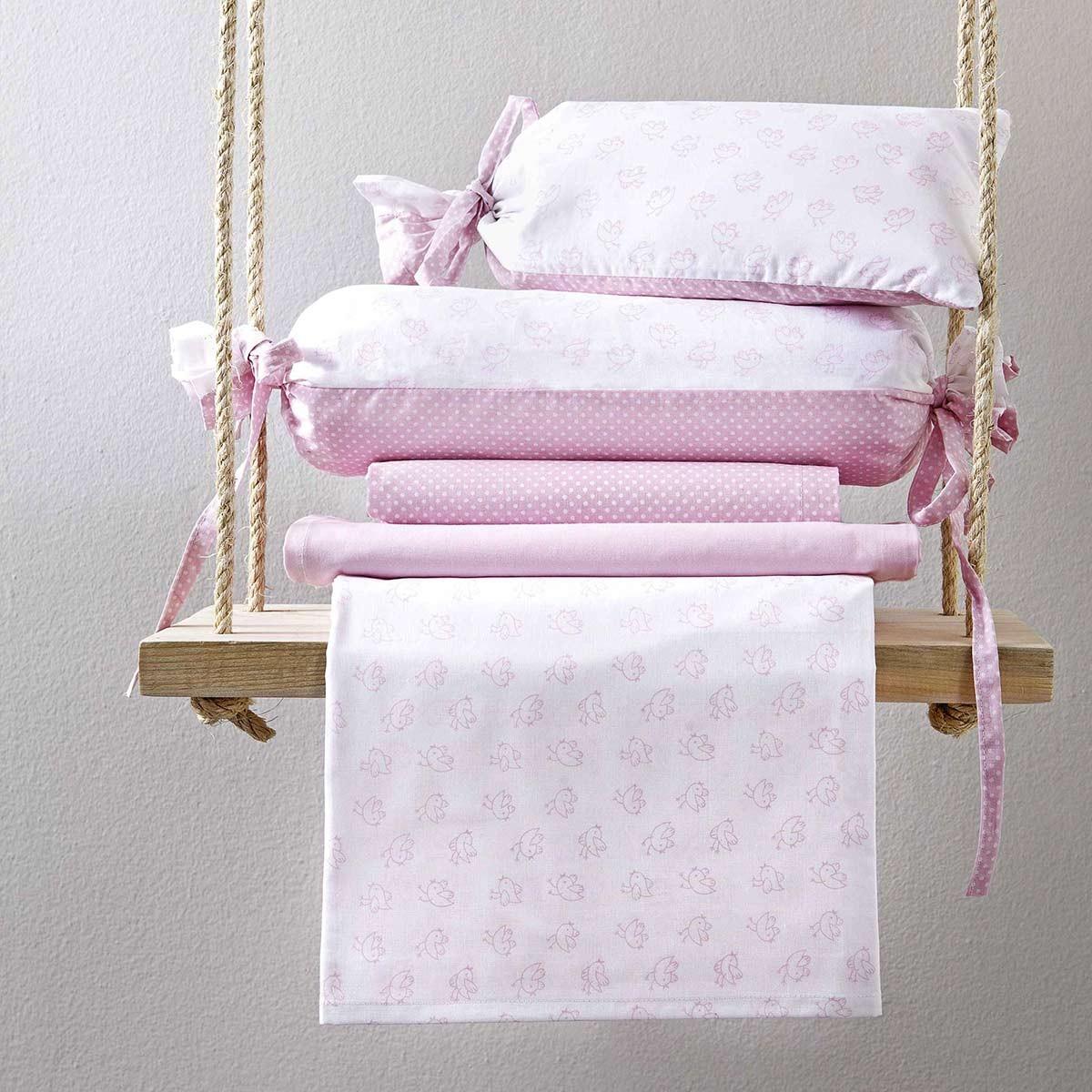 Σεντόνια Λίκνου (Σετ) Nima Birdies Pink