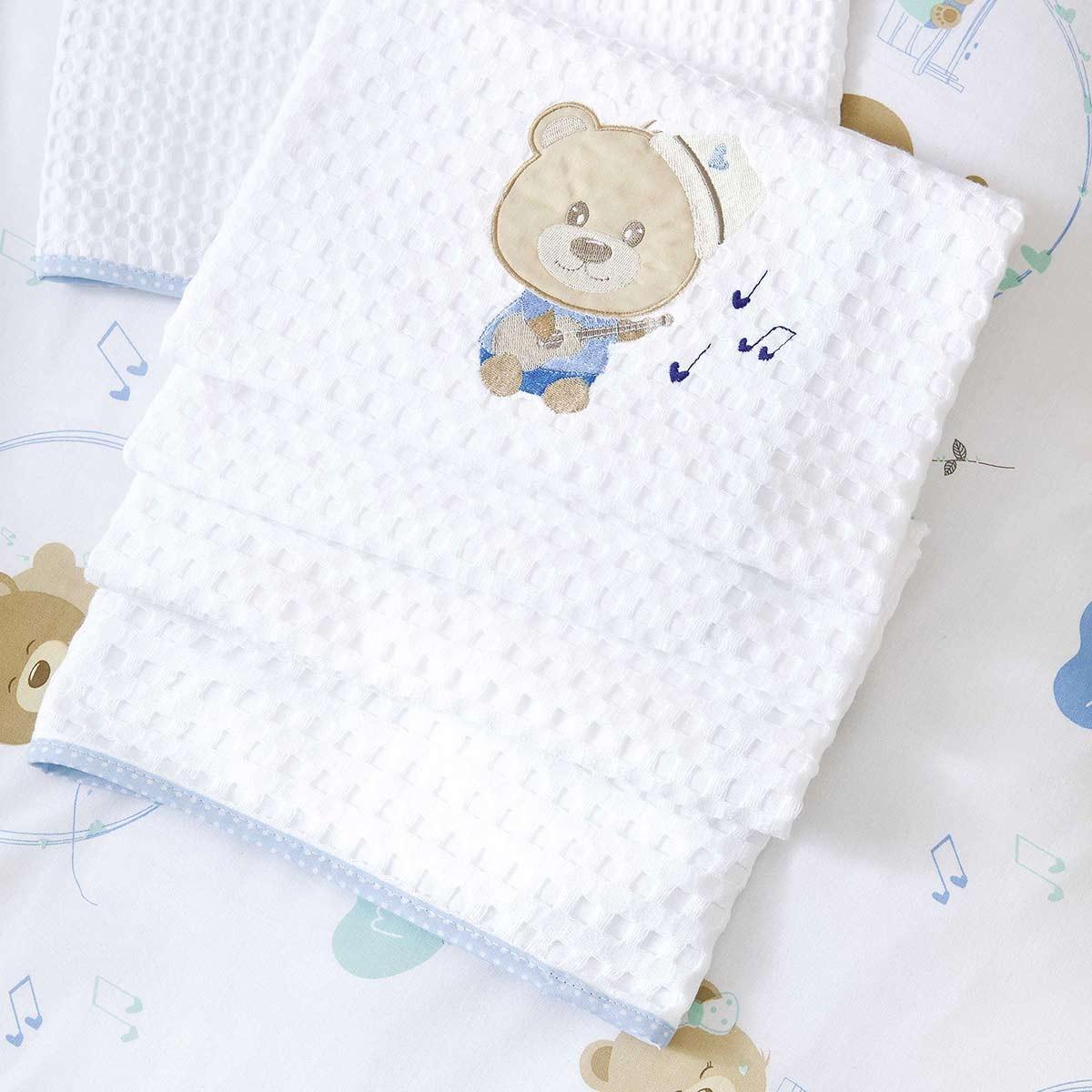 Κουβέρτα Πικέ Αγκαλιάς Nima NinnaNanna Blue
