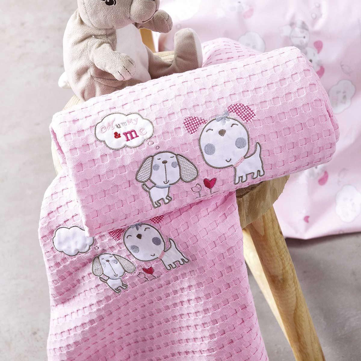 Κουβέρτα Πικέ Κούνιας Nima Mummy&Me Pink