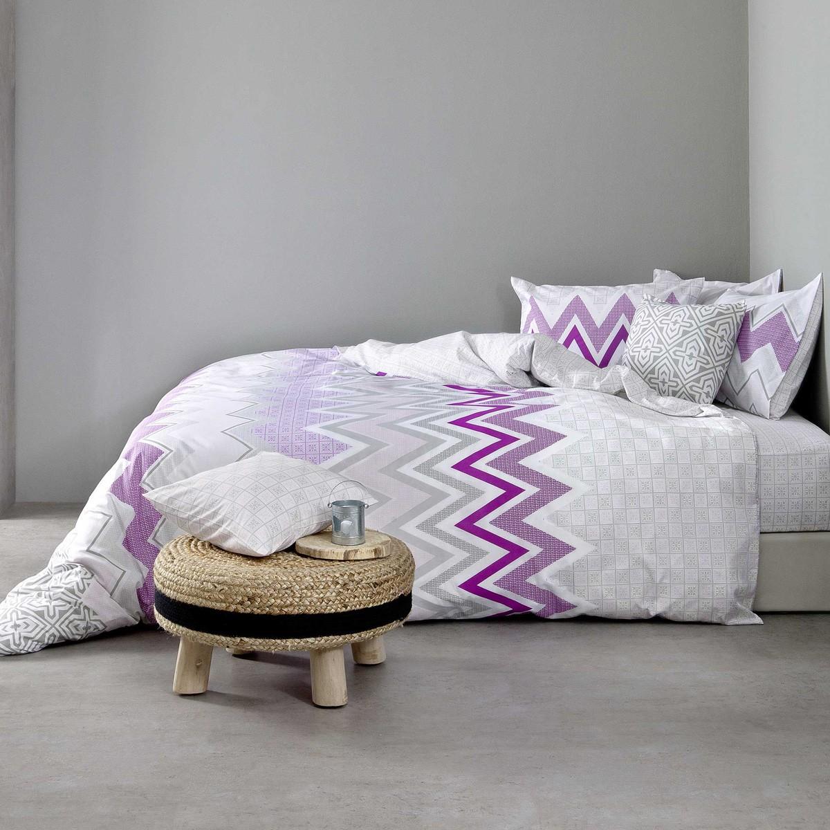 Σεντόνια Υπέρδιπλα (Σετ) Nima Bed Linen Pozitano Lilac ΧΩΡΙΣ ΛΑΣΤΙΧΟ ΧΩΡΙΣ ΛΑΣΤΙΧΟ