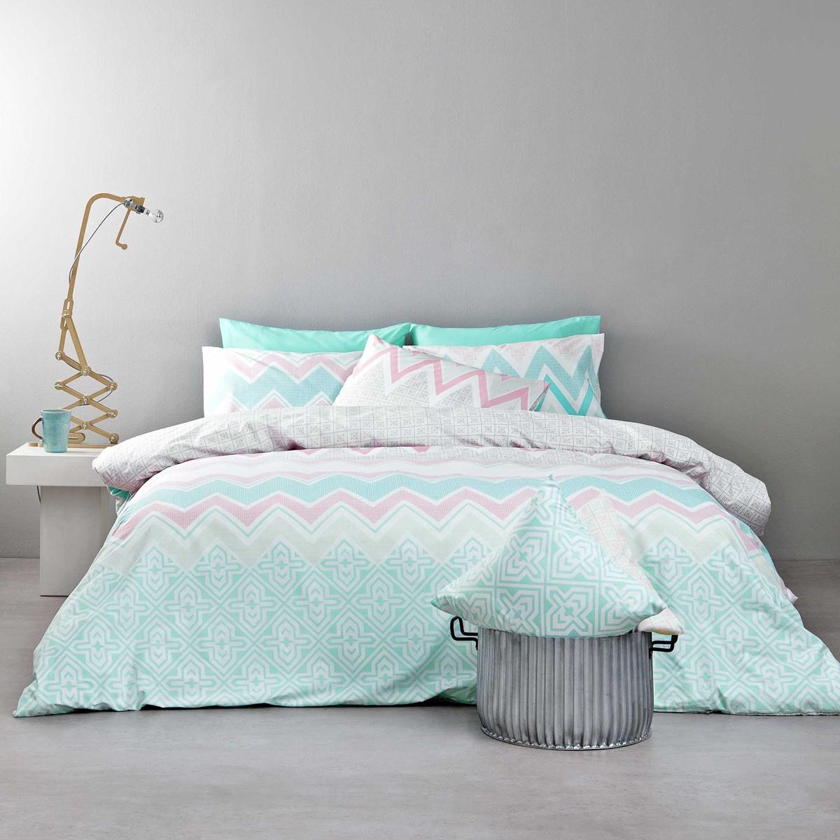 Σεντόνια Υπέρδιπλα (Σετ) Nima Bed Linen Pozitano Pink ΧΩΡΙΣ ΛΑΣΤΙΧΟ ΧΩΡΙΣ ΛΑΣΤΙΧΟ
