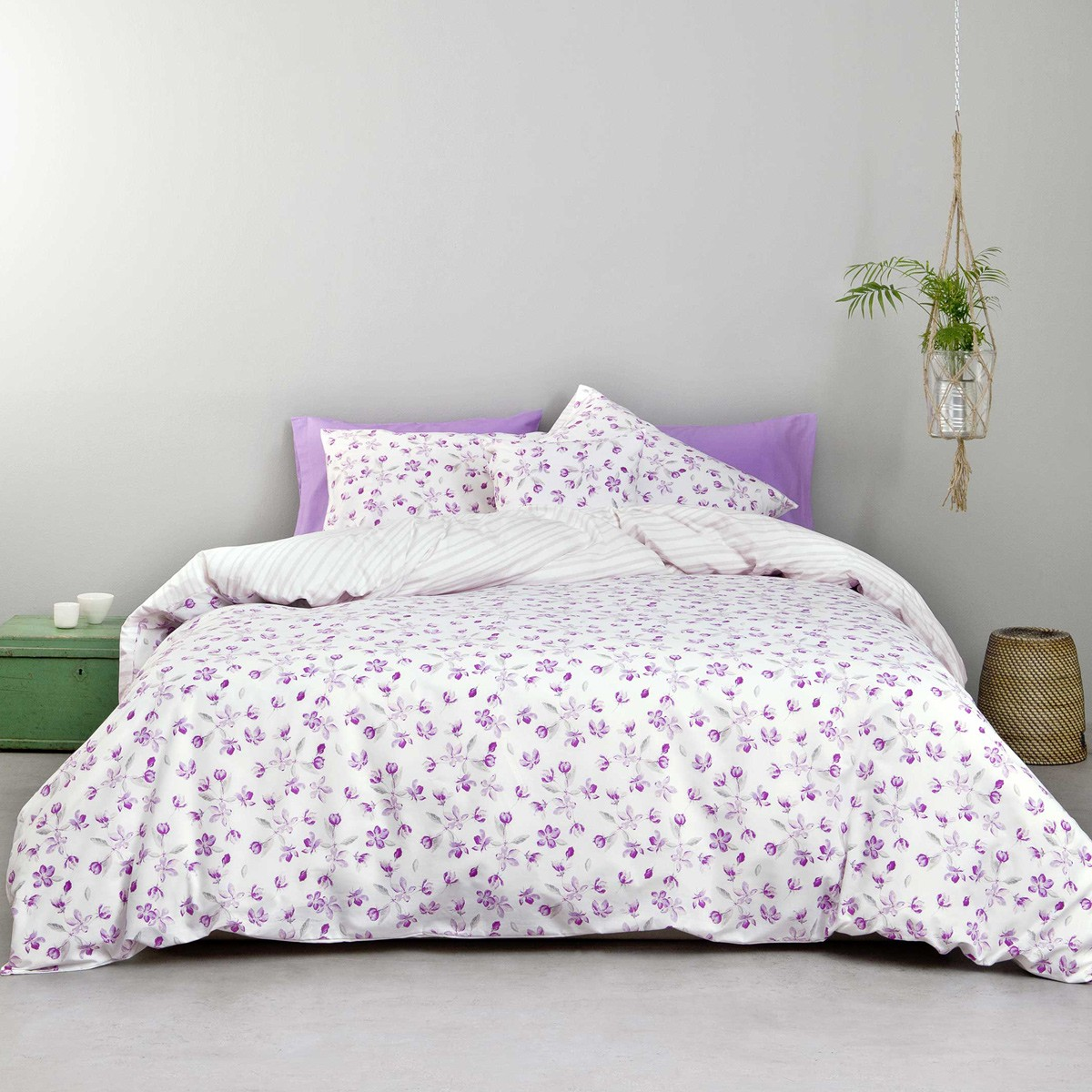 Σεντόνια Υπέρδιπλα (Σετ) Nima Bed Linen Water Lily Lilac ΧΩΡΙΣ ΛΑΣΤΙΧΟ ΧΩΡΙΣ ΛΑΣΤΙΧΟ