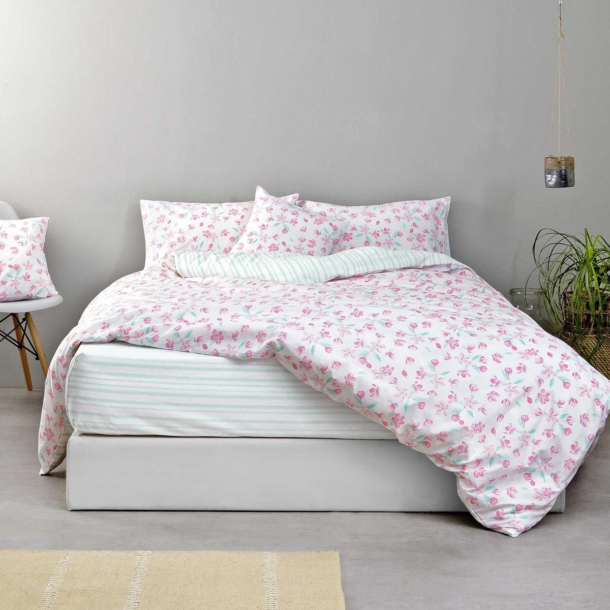 Σεντόνια Υπέρδιπλα (Σετ) Nima Bed Linen Water Lily Pink ΜΕ ΛΑΣΤΙΧΟ ΜΕ ΛΑΣΤΙΧΟ