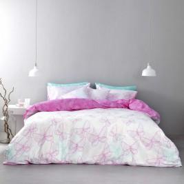 Σεντόνια Μονά (Σετ) Nima Bed Linen Farfalita Pink