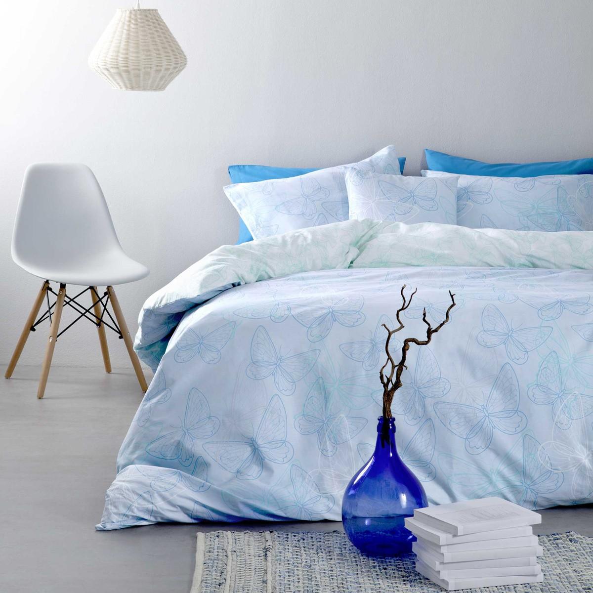 Σεντόνια Μονά (Σετ) Nima Bed Linen Farfalita Blue ΧΩΡΙΣ ΛΑΣΤΙΧΟ ΧΩΡΙΣ ΛΑΣΤΙΧΟ