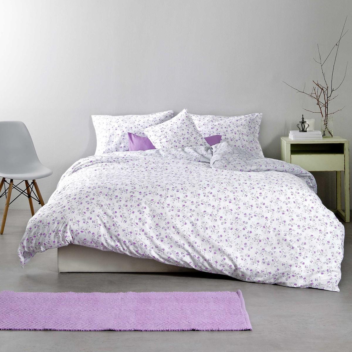 Σεντόνια Μονά (Σετ) Nima Bed Linen Secret Garden Lilac ΧΩΡΙΣ ΛΑΣΤΙΧΟ ΧΩΡΙΣ ΛΑΣΤΙΧΟ