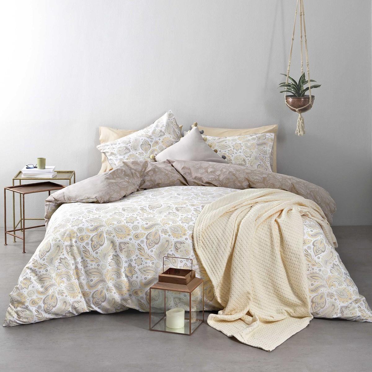 Σεντόνια Υπέρδιπλα (Σετ) Nima Bed Linen Delhi Beige ΜΕ ΛΑΣΤΙΧΟ ΜΕ ΛΑΣΤΙΧΟ