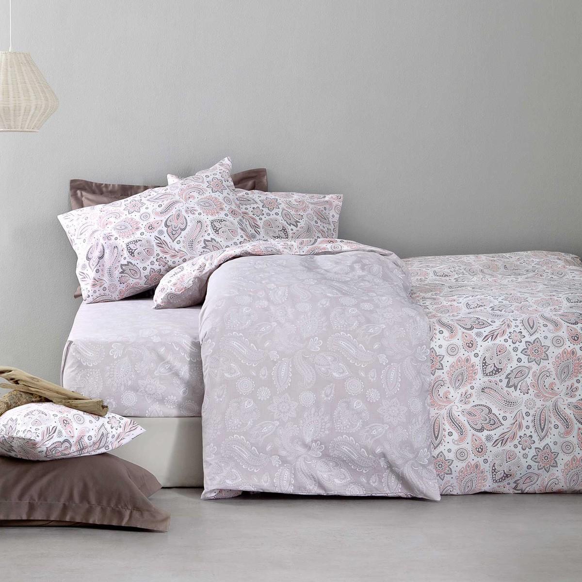Σεντόνια Υπέρδιπλα (Σετ) Nima Bed Linen Delhi Pink ΜΕ ΛΑΣΤΙΧΟ ΜΕ ΛΑΣΤΙΧΟ